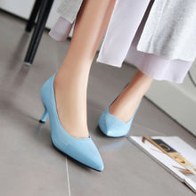 Load image into Gallery viewer, Pointed Toe Shallow-mouth Medium-heeled Women Pumps Stiletto Heels
