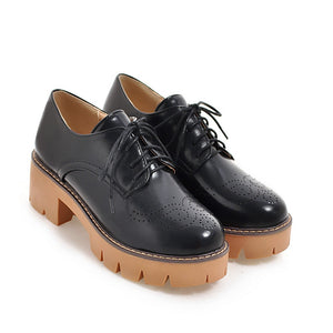 Square Toe Lace Up Platform Oxford Shoes