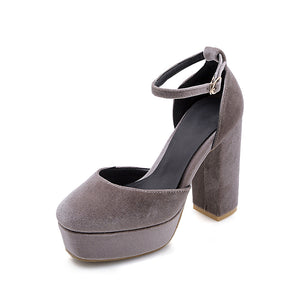 Super High Heels Hollow Ankle Strap Platform Pumps