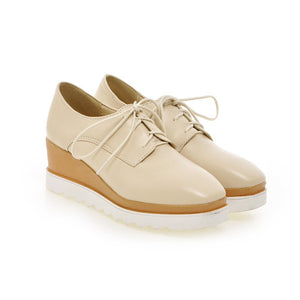 Square Head Lace Up Platform Wedges Oxford Shoes