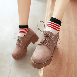Lace Up Oxford Shoes Middle Heels