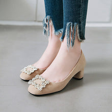 Load image into Gallery viewer, Rhinestone Rough Heel Women Chunky Pumps
