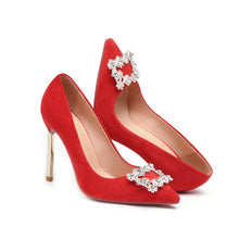 Load image into Gallery viewer, Super High Heel Pointed Toe Stiletto Rhinestone Wedding Shoes