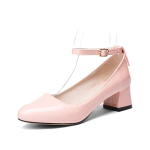 Thick Heel Buckle Shallow Ankle Strap Shoes Women Chunky Pumps