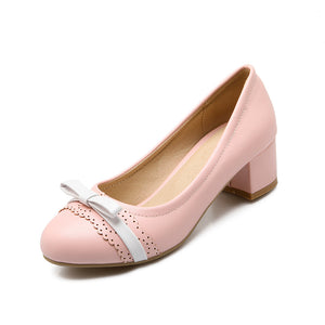 Sweet Princess Thick Heel Shallow Mouth Shoes Women Chunky Pumps