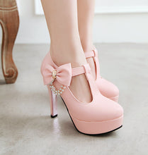 Load image into Gallery viewer, T Strap Bow High Heel Platform Pumps