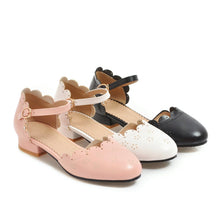 Load image into Gallery viewer, Women's low-heel round head hollow buckle sandals