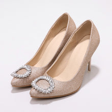 Load image into Gallery viewer, Sexy High Heel Shallow Mouth Rhinestone Pumps Wedding Shoes