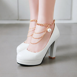 Chains Platform Pumps High Heels