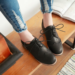 Women's Square Heel Lace Up Women's Shoes Low Oxford Shoes