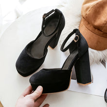 Load image into Gallery viewer, Super High Heels Hollow Ankle Strap Platform Pumps