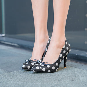 Round Head Stiletto High Heel Pointed Toe Dot Women Pumps
