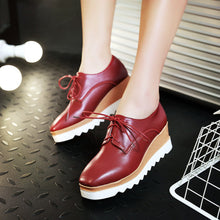 Load image into Gallery viewer, Square Head Lace Up Platform Wedges Oxford Shoes