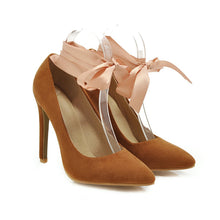 Load image into Gallery viewer, Pointed Toe Shallow Ribbon Women Pumps