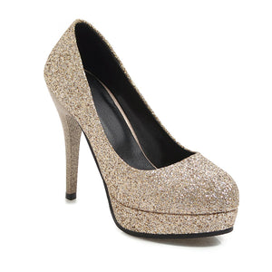 Super High Heel Sequins Stiletto Heel Platform Pumps Wedding Shoes