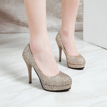 Load image into Gallery viewer, Super High Heel Sequins Stiletto Heel Platform Pumps Wedding Shoes
