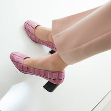 Load image into Gallery viewer, Square Headed Shallow Mouth Chunky Heel Pumps