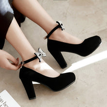 Load image into Gallery viewer, Round Toe Bow Women Pumps High Heels Dress Shoes
