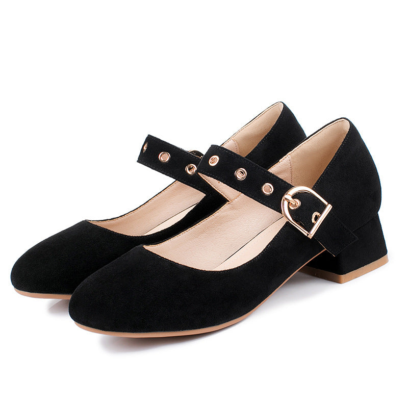 Square Heel Shallow Mouth Women Pumps
