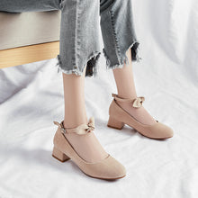 Load image into Gallery viewer, Leisure Square Heel Buckle Shallow Toe Women Chunky Pumps Shoes