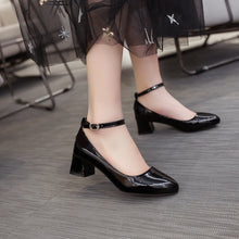 Load image into Gallery viewer, Thick Heel Buckle Shallow Ankle Strap Shoes Women Chunky Pumps