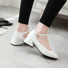 Load image into Gallery viewer, Square Heel Shallow Mouth Buckle Round Head Chunky Middle Pumps