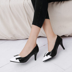 Pointed Toe Bow Tie High Heels Pumps