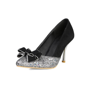 Sequined Stiletto High Heel Pointed Toe Pumps