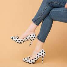 Load image into Gallery viewer, Round Head Stiletto High Heel Pointed Toe Dot Women Pumps