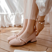 Load image into Gallery viewer, Leisure Princess Shoes Low Heels Shallow Toe Women Chunky Heels Pumps