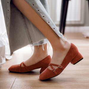 Leisure Princess Shoes Low Heels Shallow Toe Women Chunky Heels Pumps