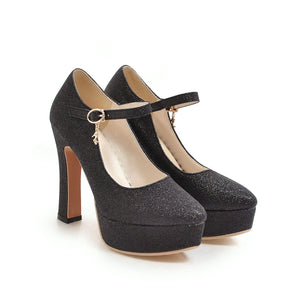 Ankle Strap Buckle Super High-heeled Platform Pumps