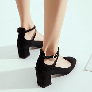 Rough Heel Shallow Toe Buckle Women Middle Pumps