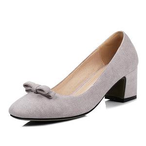 Knot Women Pumps Chunky Heels Shoes