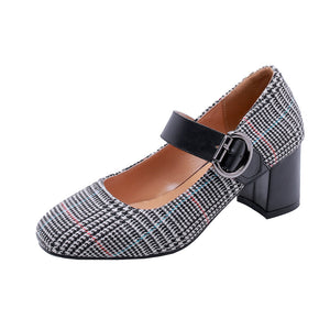 Plaid Mary Janes Chunky Heel Pumps