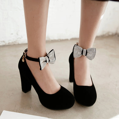 Round Toe Bow Women Pumps High Heels Dress Shoes