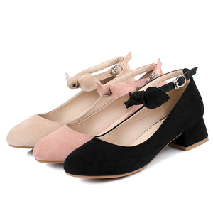Leisure Square Heel Buckle Shallow Toe Women Chunky Pumps Shoes