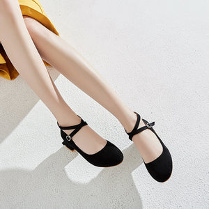 Buckle Chunky Pumps Shallow Mouth Women Middle Heels Shoes