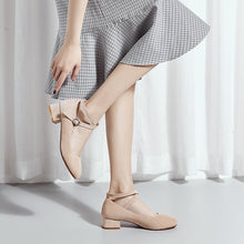 Load image into Gallery viewer, Buckle Chunky Pumps Shallow Mouth Women Middle Heels Shoes