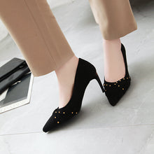 Load image into Gallery viewer, Pointed Toe Rivets High Heels Stiletto Heel Pumps