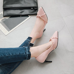 Pointed Toe Rivets High Heels Stiletto Heel Pumps