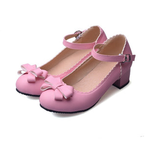 Sweet Butterfly Knot Thick Heel Pumps Princess Shoes