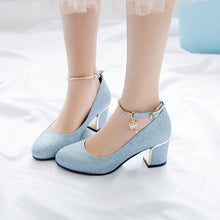 Load image into Gallery viewer, Ankle Strap High-heeled Shallow-mouth Pumps