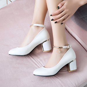 Round Head Shallow Buckle Chunky Heels Pumps