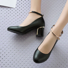 Load image into Gallery viewer, Round Head Shallow Buckle Chunky Heels Pumps
