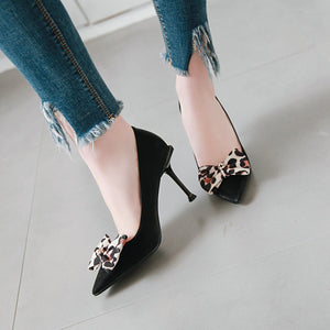 Bow Tie High-heeled Shallow Mouth Pointed Stiletto Heel Pumps