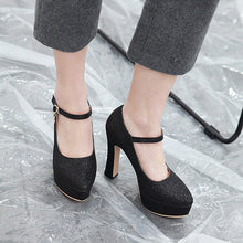 Load image into Gallery viewer, Ankle Strap Buckle Super High-heeled Platform Pumps
