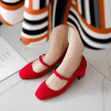Load image into Gallery viewer, Square Toe Mary Jane Chunky Heels Pumps