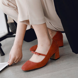 Square Toe Mary Jane Chunky Heels Pumps