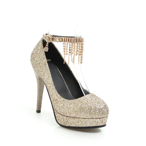 Sequined Wedding Shoes Super High-heeled Rhinestone Stiletto Heel Platform Pumps